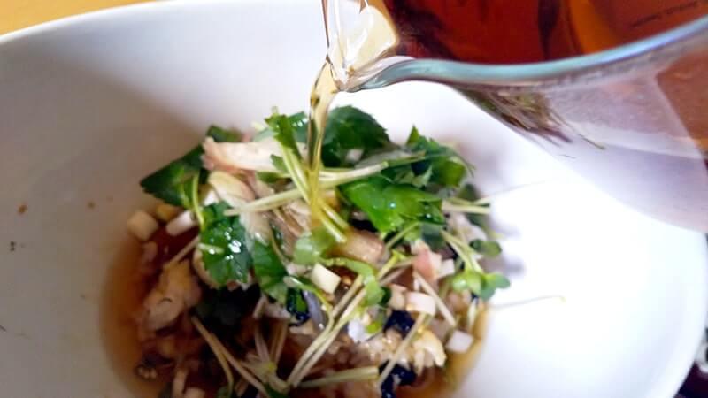 釣ったメイチダイとアイゴで「漬け丼からのお茶漬け」御膳
