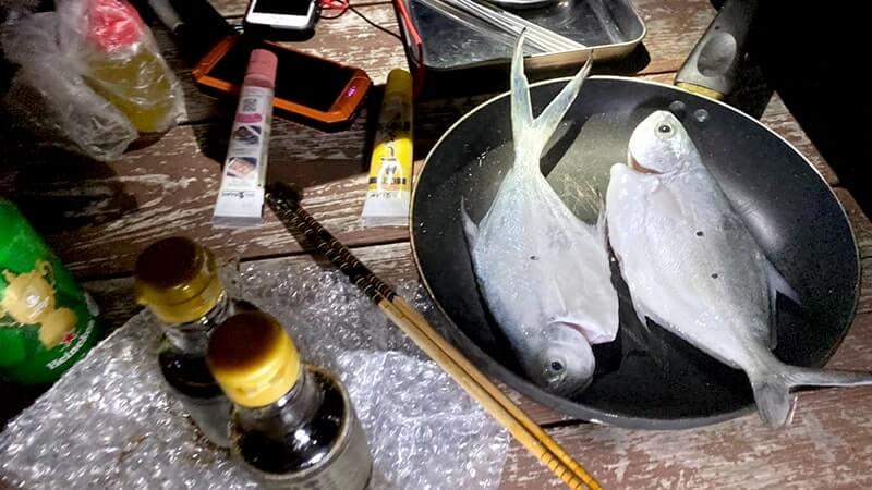 投げサビキ釣りで初顔のコバンアジ!釣りたてを包み焼きにして食す|新島釣りキャンプ【DAY3  後編】